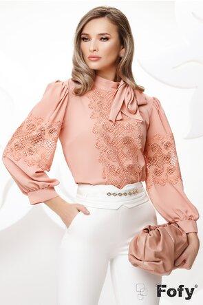 Bluza dama din voal roz cu dantela premium si funda maxi