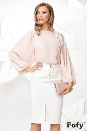 Bluza dama eleganta nude cu maneci largi si aplicatii de perle si strassuri