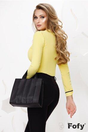 Bluză dama Fofy eleganta galbena cu fundita neagra si acesoriu auriu cu perla