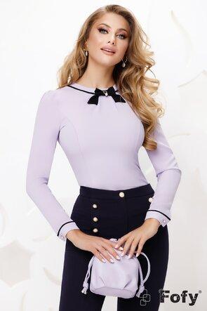 Bluză dama Fofy eleganta lila cu fundita neagra si acesoriu auriu cu perla