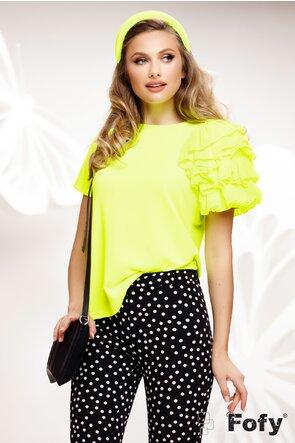 Bluza dama galben neon din bumbac cu volane din voal pe un umar