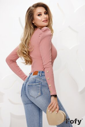 Bluza dama roz cu dantela neagra la anchior
