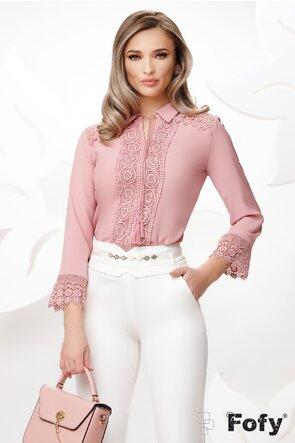 Bluza dama roz eleganta cu aplicatii de dantela brodata