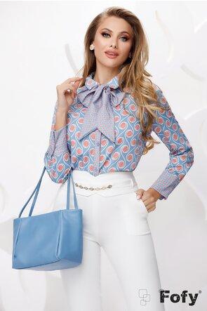 Bluza dama satinata bleu cu esarfa