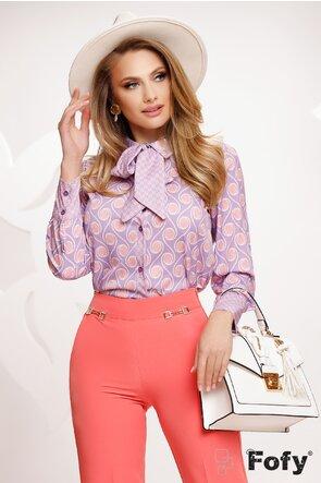 Bluza dama satinata lila cu esarfa