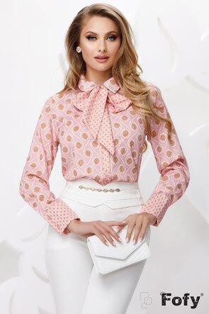 Bluza dama satinata roz cu esarfa