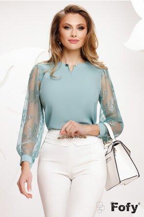 Bluza dama turcoaz cu maneci de dantela si brosa cu perle