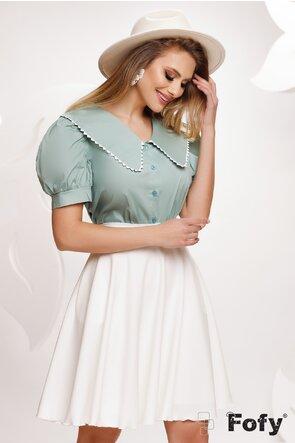 Bluza dama verde cu guler retro conturat cu dantela brodata