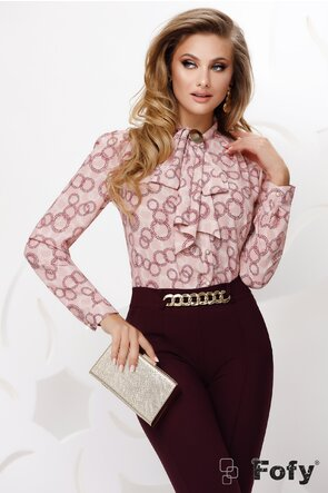 Bluza Fofy dama din voal roz cu funda innodata si accesoriu auriu