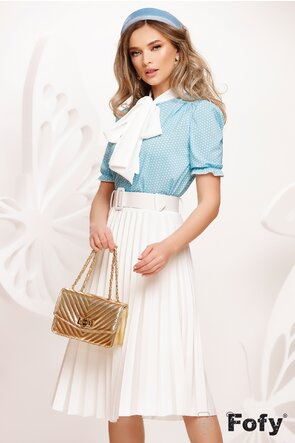 Bluza Fofy dama eleganta bleu cu funda maxi alba