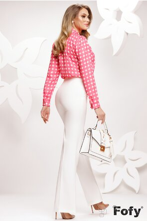 Bluza Fofy dama eleganta din voal cu buline ciclame