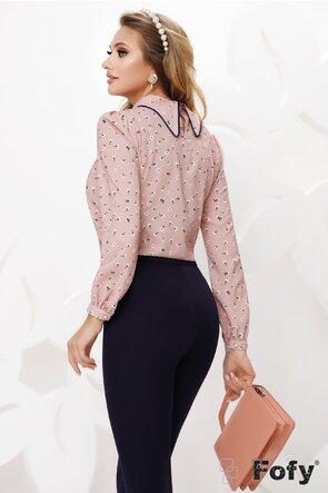 Bluza Fofy dama roz din voal cu guler șal si accesoriu inclus