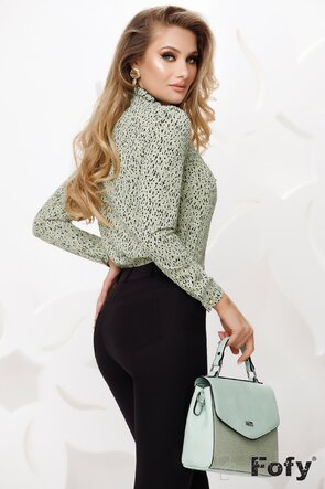 Bluza Fofy dama verde eleganta din voal fin netrasparent