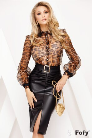Bluza Fofy din organza animal print innobilata cu nasturi aurii si funda maxi decorativa