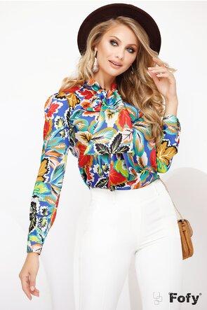 Bluza Fofy satinata cu imprimeu tomnatic efervescent