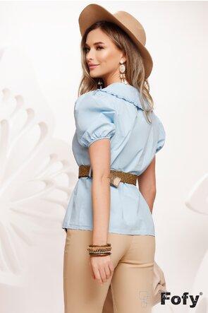 Camasa dama bleu cu guler amplu brodat si centura inclusa