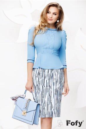 Camasa dama Fofy bleu cu pliuri si peplum