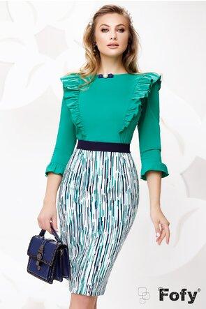 Camasa dama Fofy verde eleganta cu volane pe umeri