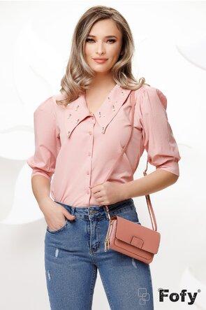 Camasa dama roz cu guler amplu