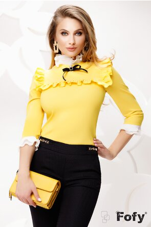 Cămașă de dama Fofy galbena eleganta cu platca și volane