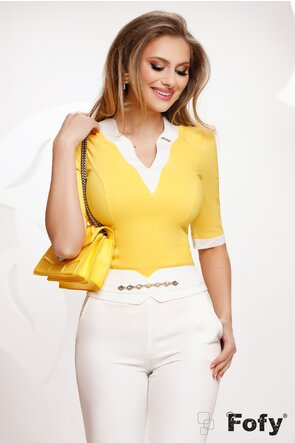 Camasa Fofy dama eleganta galbena cu decolteu la contrast