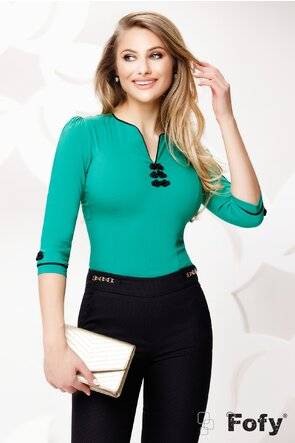 Cămașă Fofy dama eleganta  verde cu brandenburg