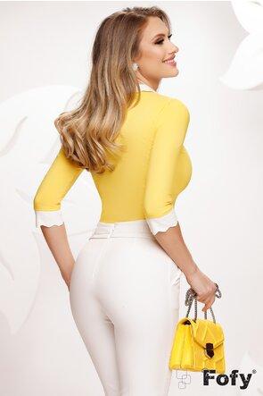 Cămașă Fofy dama galbena cu guler si mansete ondulate