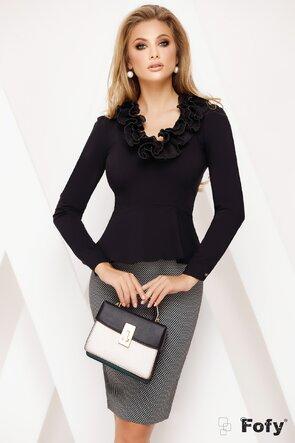 Camasa Fofy dama neagra decoltata cu volane plisate si perle
