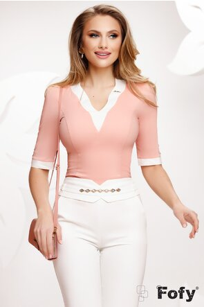 Camasa Fofy dama roz cu decolteu la contrast