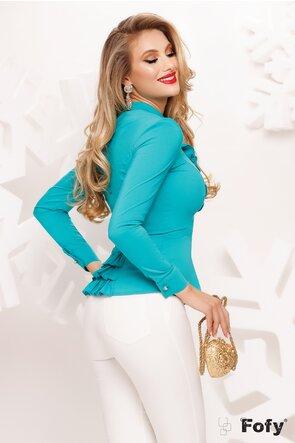 Camasa Fofy dama turquoise cu jabou cu perle si strasuri