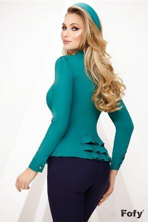 Camasa Fofy dama verde cu jabou cu perle si strasuri