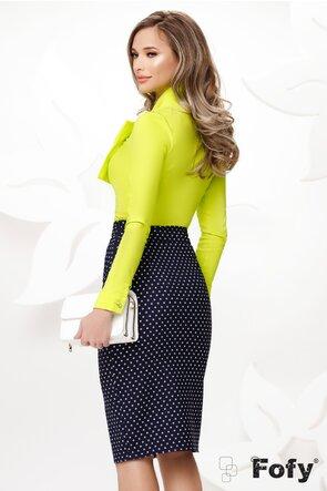 Camasa Fofy eleganta lime cu funda maxi si accesoriu inclus