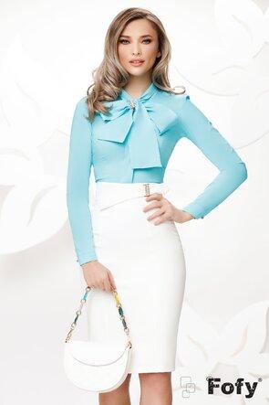 Camasa Fofy eleganta turcoaz cu funda maxi si accesoriu inclus