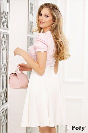 Camasa Fofy maneca scurta roz cu dungulite jabou si brosa cristale