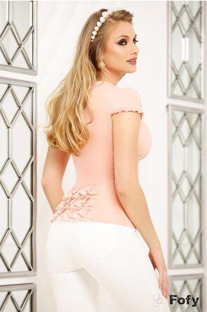 Camasa Fofy roz cu sirag de perle si dantela