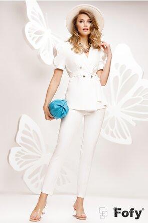 Compleu dama elegant alb sacou si pantalon lung