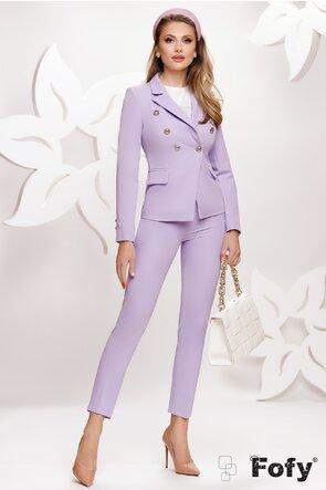Compleu dama elegant lila sacou cu pantalon