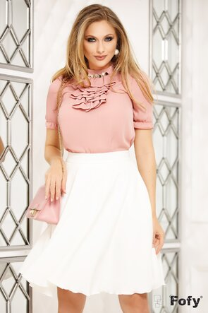 Bluza Fofy roz pudra cu jabou si  accesoriu auriu cu strass