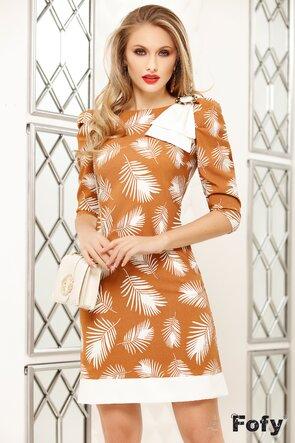 Rochie Fofy ocru cu imprimeu frunze stilizate