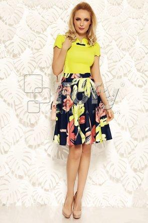 Fustă bleumarin cu flori galbene și roz