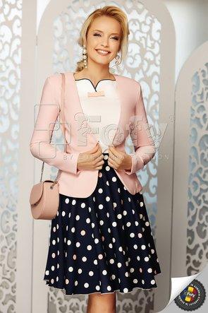Fustă cloș bleumarin cu buline ecru și roz