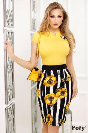 Fustă ecru cu dungi negre și flori galbene