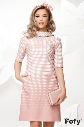 Rochie Fofy retro cu imprimeu discret roz si contur roz la guler si maneca
