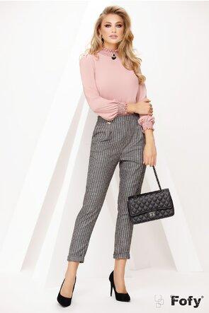 Pantalon de dama casual gri cu dungi roz