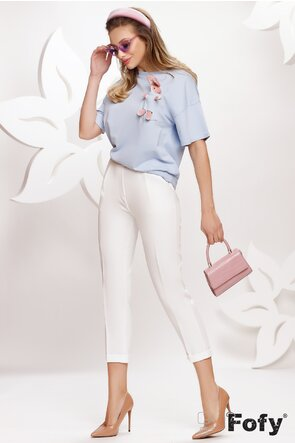 Pantalon dama alb cu pense si elastic la spate
