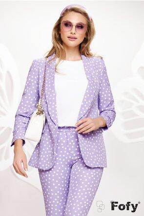Pantalon dama conic lila cu buline albe talie medie