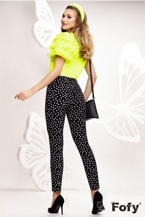 Pantalon dama conic negru cu buline albe talie medie
