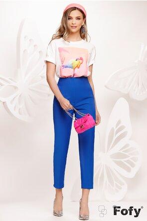 Pantalon dama elegant cu talie inalta albastru cu pense de cambrare