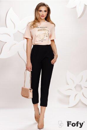 Pantalon dama negru cu pense si elastic la spate
