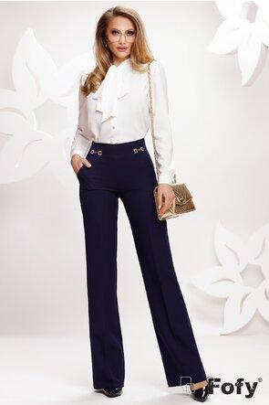 Pantalon Fofy dama evazat bleumarin cu catarame laterale